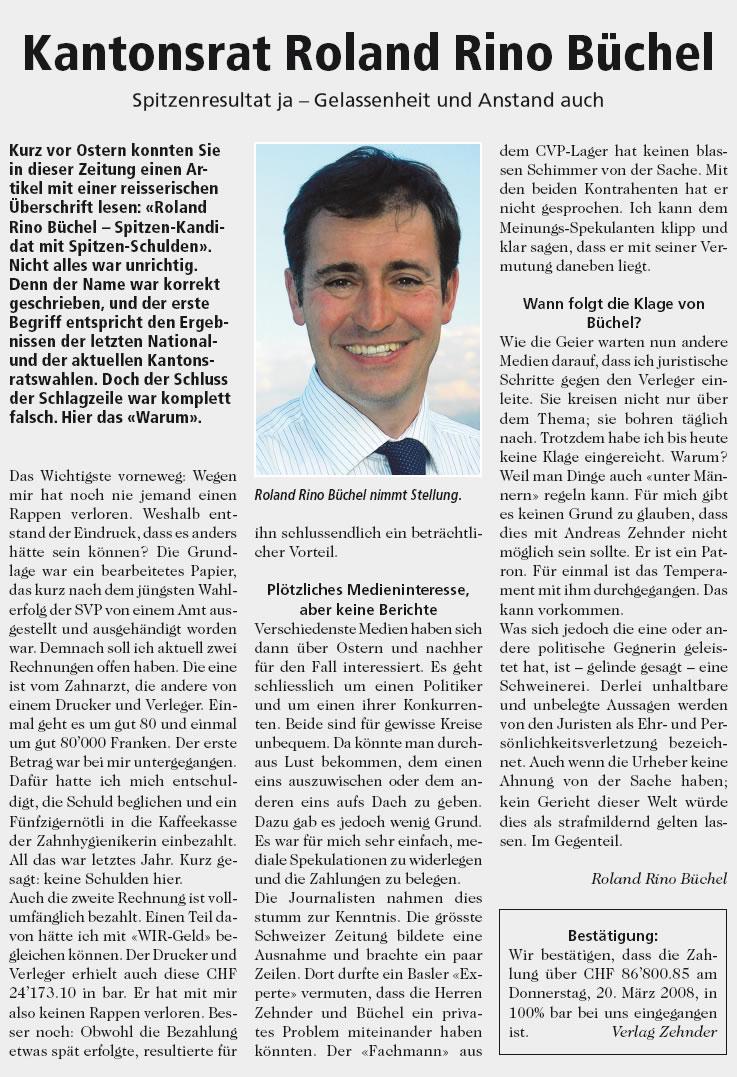 Kantonsrat Roland Rino Büchel: Spitzenresultat ja - Gelassenheit und Anstand auch