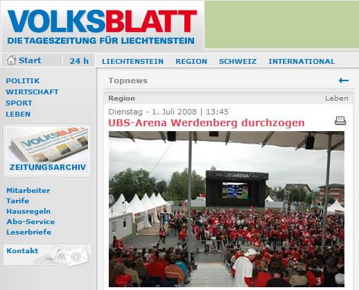 Volksblatt: UBS-Arena Werdenberg durchgezogen