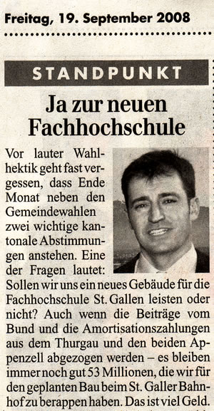 Rheintalische Volkszeitung: Wir sollten uns die neue Fachhochschule leisten