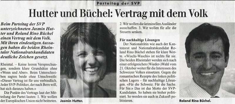 Roland Rino Buechel und Jasmin Hutter unterschreiben einen Vertrag mit dem Volk.