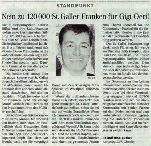 Nein zu 120'000 St. Galler Franken für Gigi Oeri!