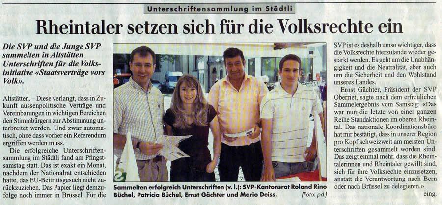 Rheintaler setzen sich für die Volksrechte ein