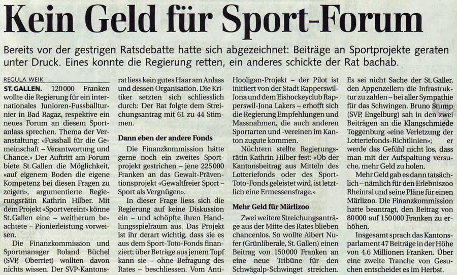 Kein Geld für Sport-Forum