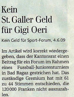 Kein St. Galler Geld für Gigi Oeri