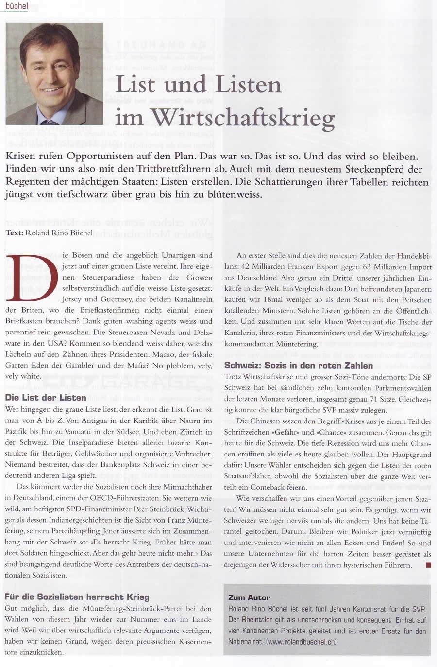 Büchel: List und Listen im Wirtschaftskrieg