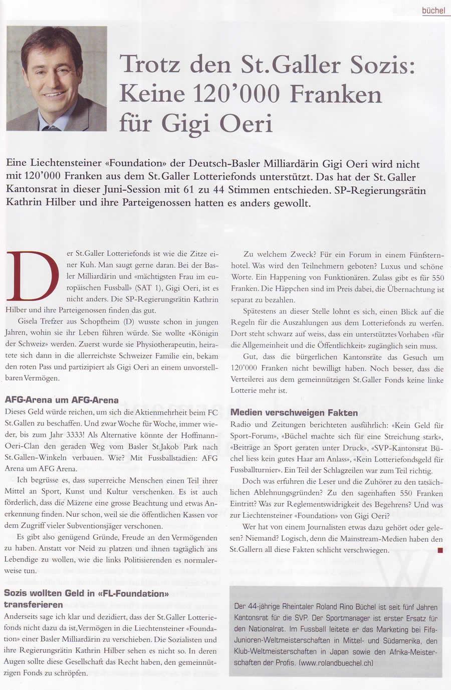 Büchel-Kolumne im LEADER: Trotz den St. Galler Sozis: Keine 120000 Franken für Gigi Oeri