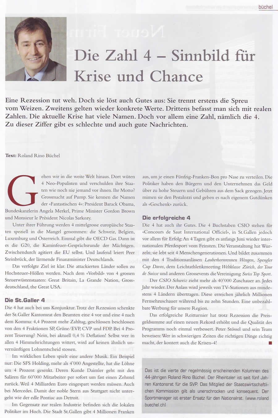 Büchel: Die Zahl 4 - Sinnbild für Krise und Chance
