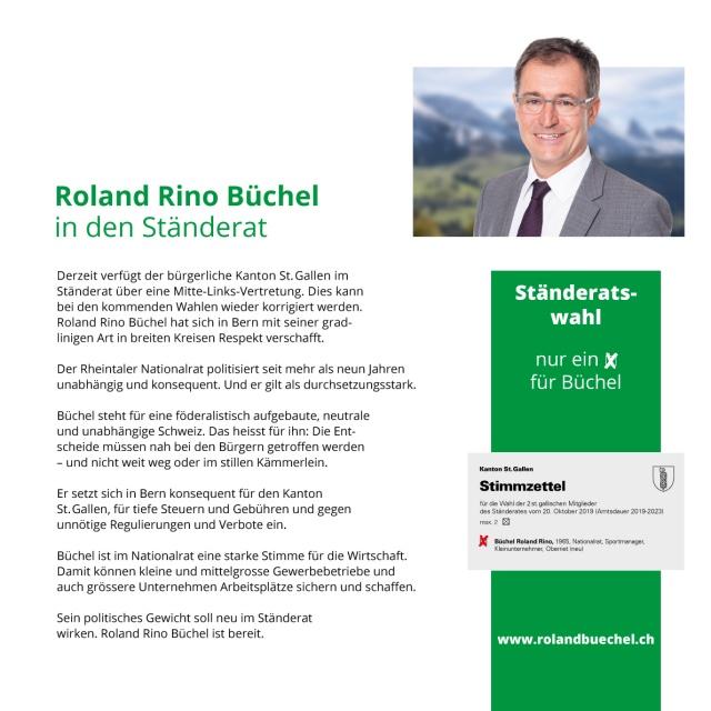 Flyer Roland Rino Büchel 2019