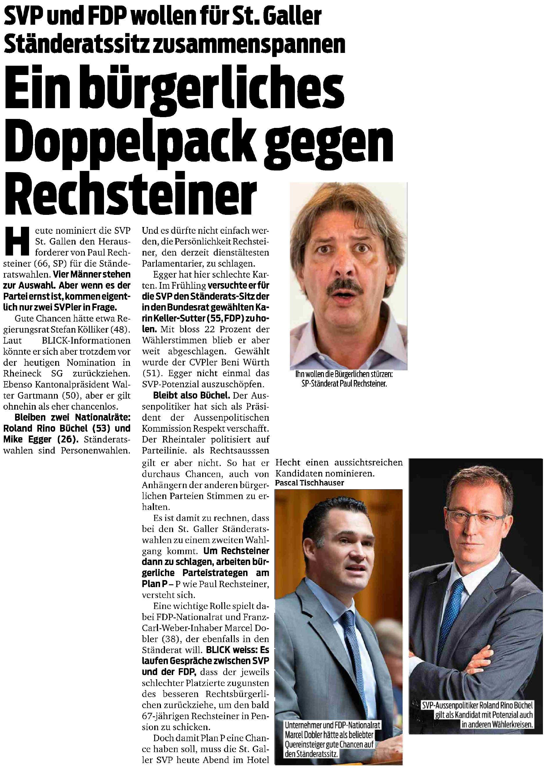 Bürgerliches Doppelpack gegen Rechsteiner (Mittwoch, 26.06.2019)