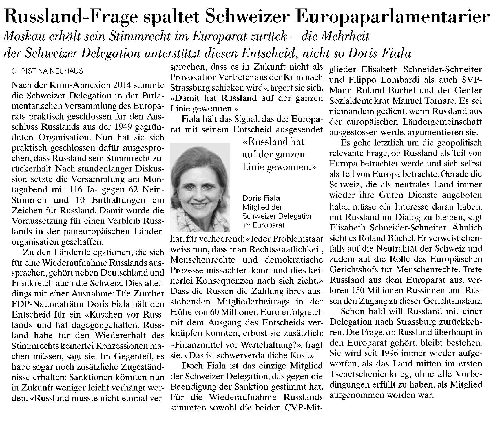 Russland-Frage spaltet Schweizer Europaparlamentarier (Mittwoch, 26.06.2019)