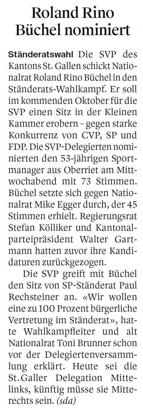 Roland Rino Büchel nominiert (Donnerstag, 27.06.2019)