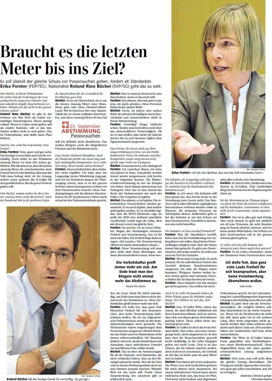 St. Galler Tagblatt: Braucht es die letzten Meter bis zum Ziel?