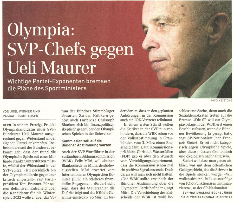 SonntagsZeitung: Olympia - SVP-Chefs gegen Ueli Maurer