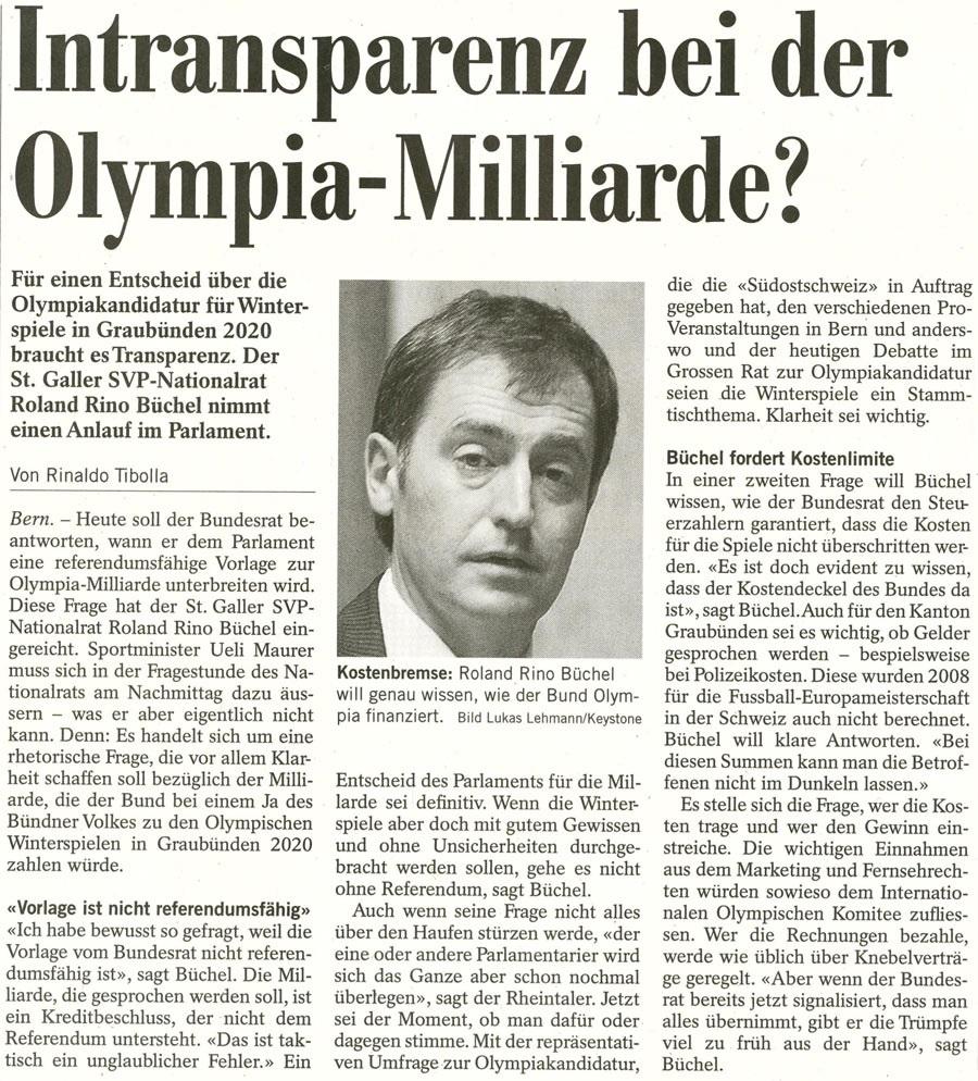Südostschweiz: Intransparenz bei der Olympia-Milliarde