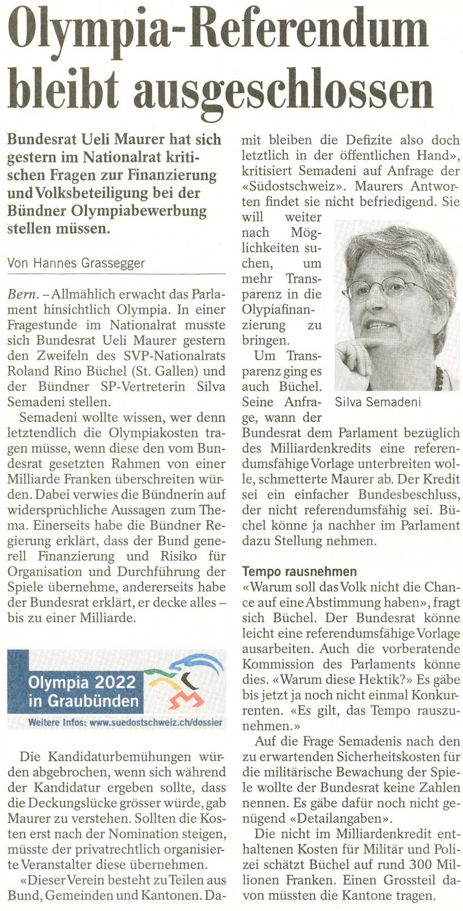 Südostschweiz: Olympia-Referendum bleibt ausgeschlossen