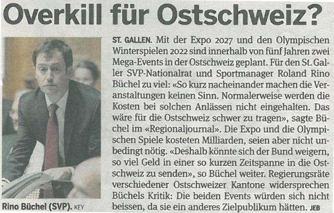 20 Minuten: Overkill für die Ostschweiz (Expo27 und Olympia)