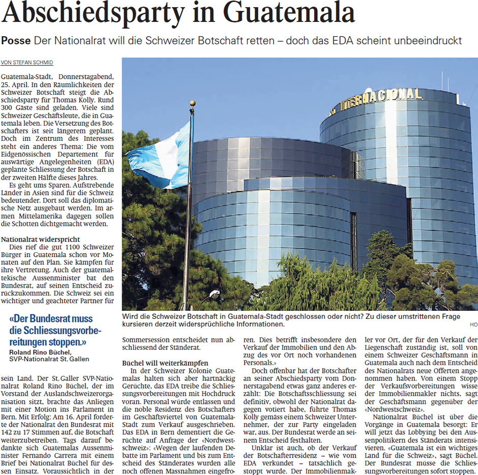Aargauer Zeitung: Abschiesparty in Guatemala