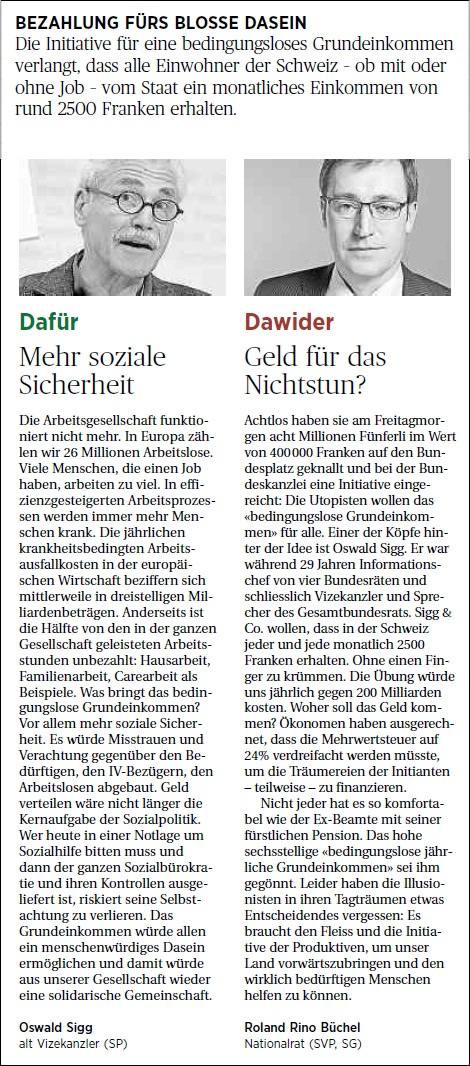 Ostschweiz am Sonntag: Geld für das Nichtstun?