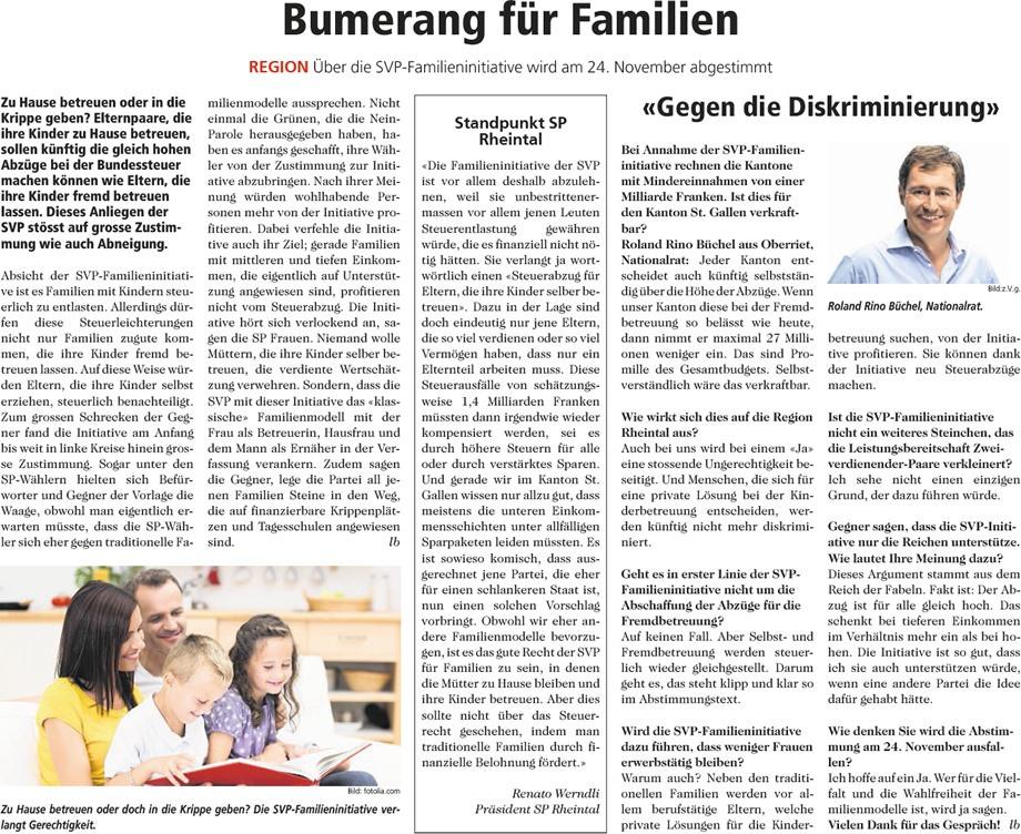 Rheintaler Bote: Bumerang für Familien