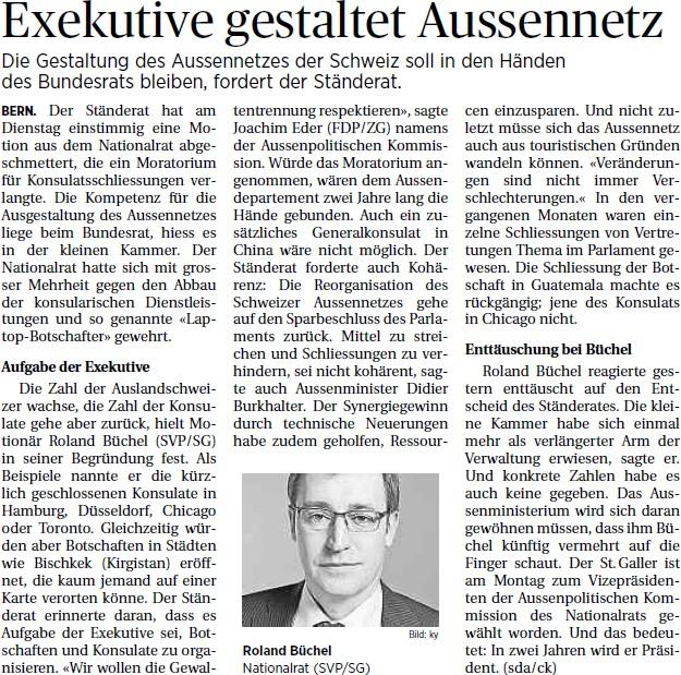 St. Galler Tagblatt: Exekutive gestaltet Aussennetz