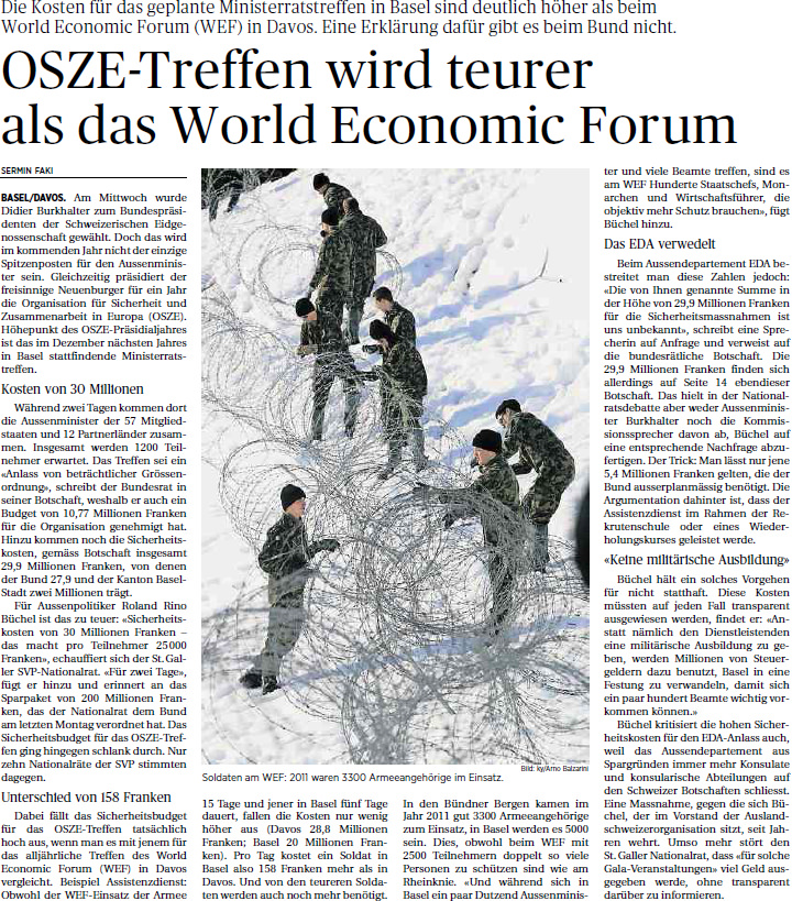 Ostchweiz am Sonntag: OSZE Treffen wird teurer als WEF