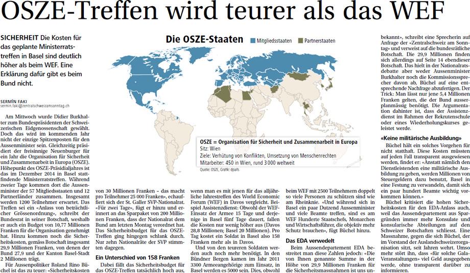 Zentralschweiz am Sonntag: OSZE-Treffen teurer als WEF