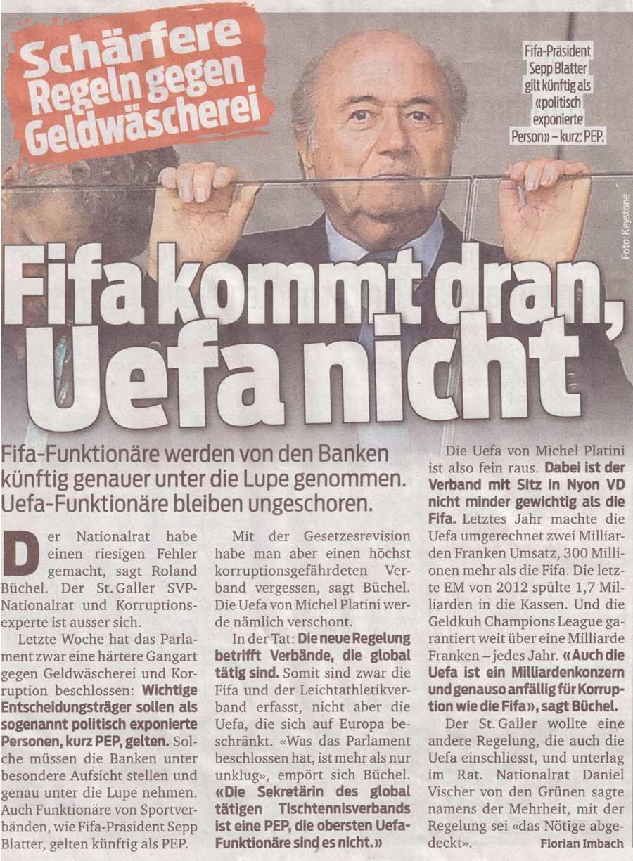 Blick: Geldwäscherei FIFA / UEFA