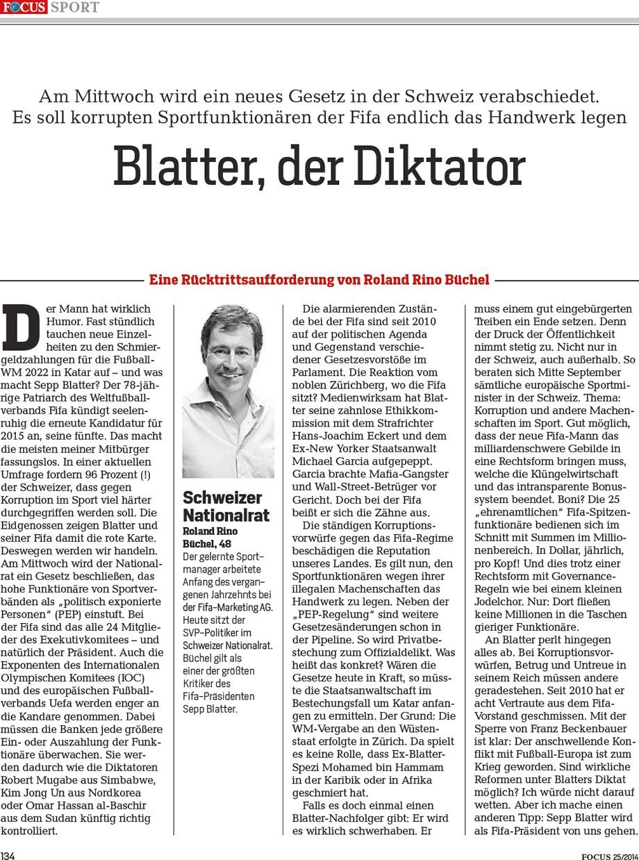 Focus Sport: Blatter, der Diktator