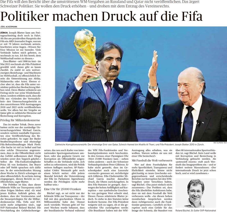 Ostschweiz am Sonntag: Politiker machen Druck auf FIFA