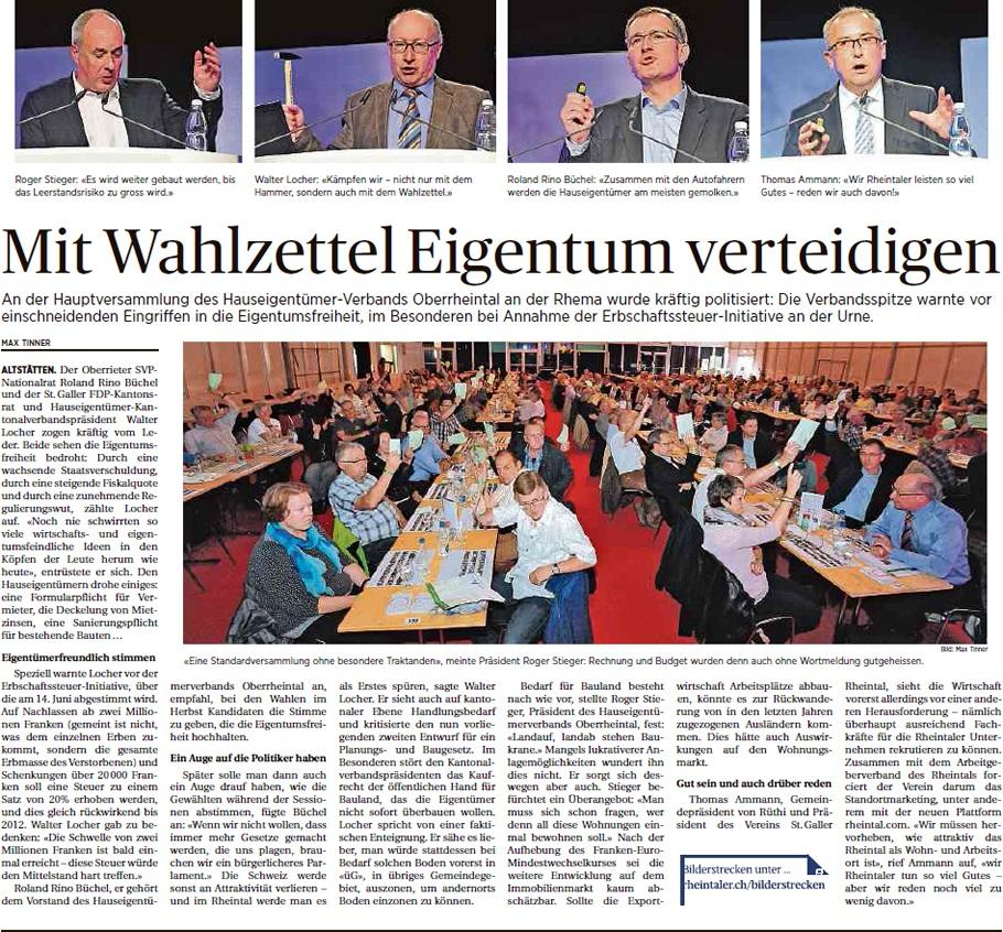 Der Rheintaler: Mit dem Wahlzettel das Eigentum verteidigen