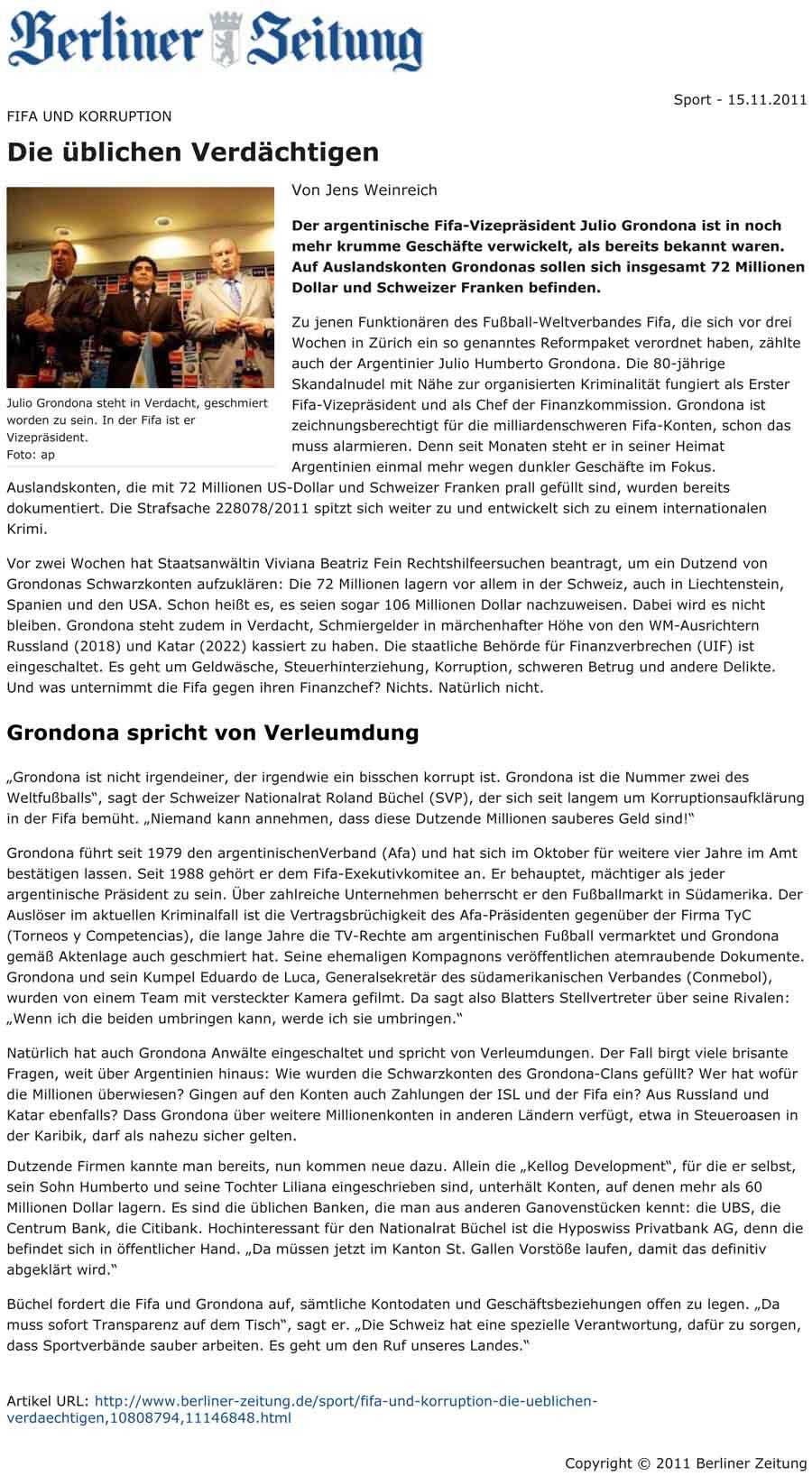 Berliner Zeitung: Julio Gordona  - FIfa und Koruption / Roland Rino Büchel