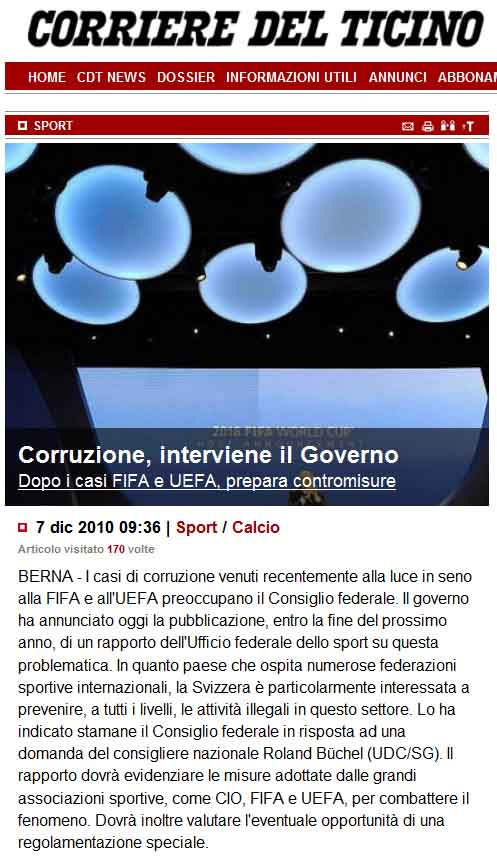 Corriere Del Ticino: Corruzione a Fifa (Roland Rino Büchel)