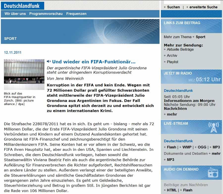 Deutschland Funk: Fifa Korruption / Julio Grondona