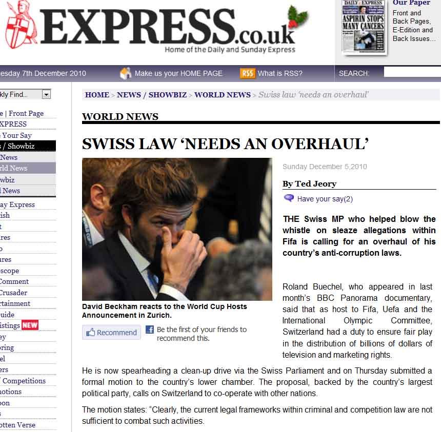 "FIFA corruption: ""Swiss law needs an overhaul."""