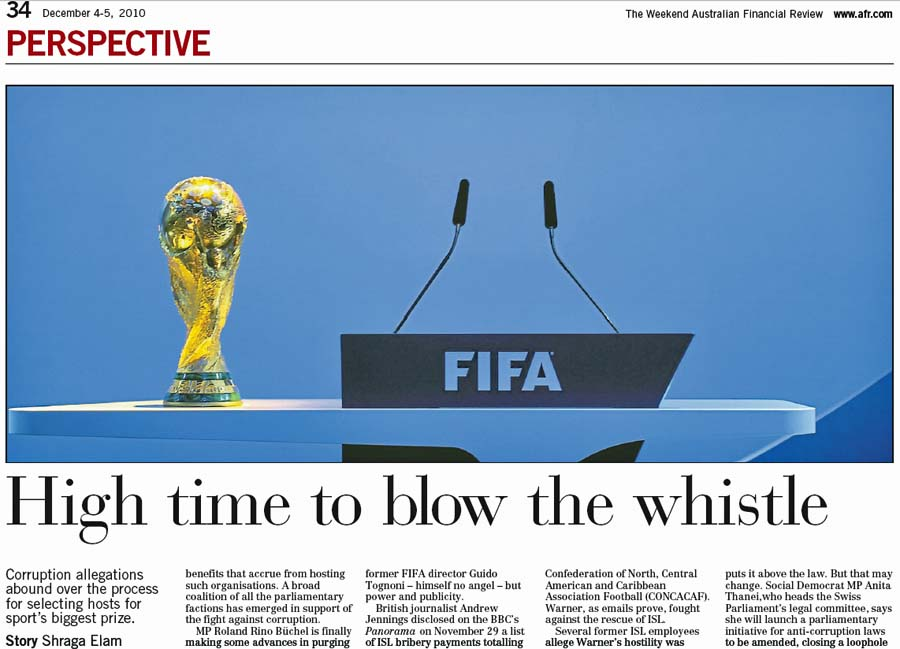 The Weekend Australian Financial Review: Fifa Corruption - Roland Rino Büchel