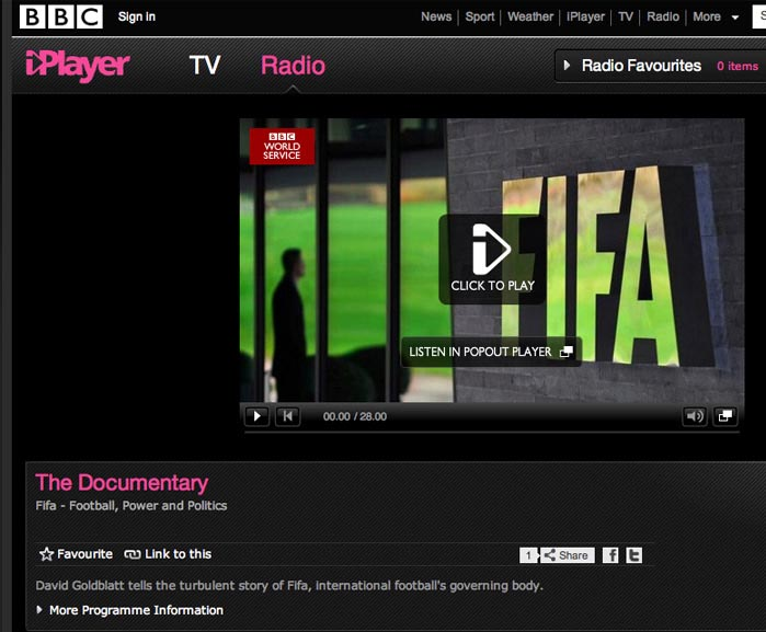 BBC Documentary: Fifa - Football, Power, Politics