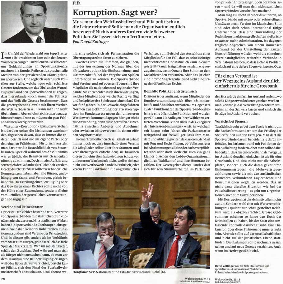 """Weltwoche: """"Korruption. Sagt wer?"""" (Von David Zollinger) - Nationalrat Roland Rino Büchel"""