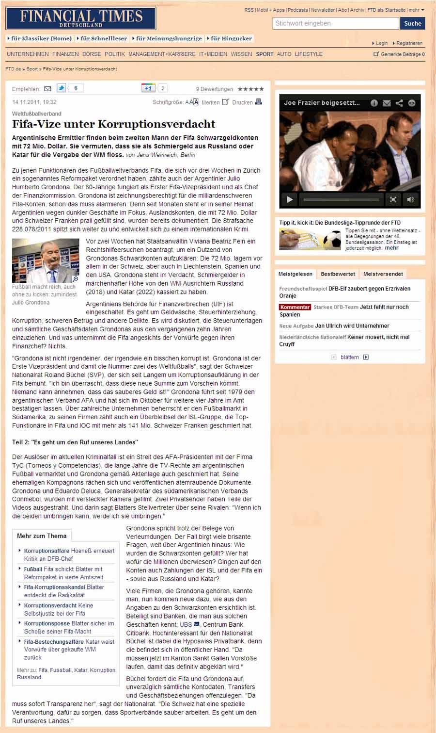 Financial Times: FIFA Korruption - Roland Rino Büchel (Fifa-Vize unter Korruptions-Verdacht)