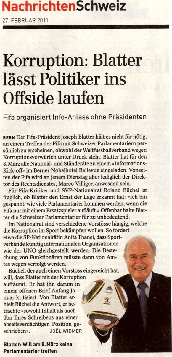 Sepp Blatter lässt Politiker ins Offside laufen.