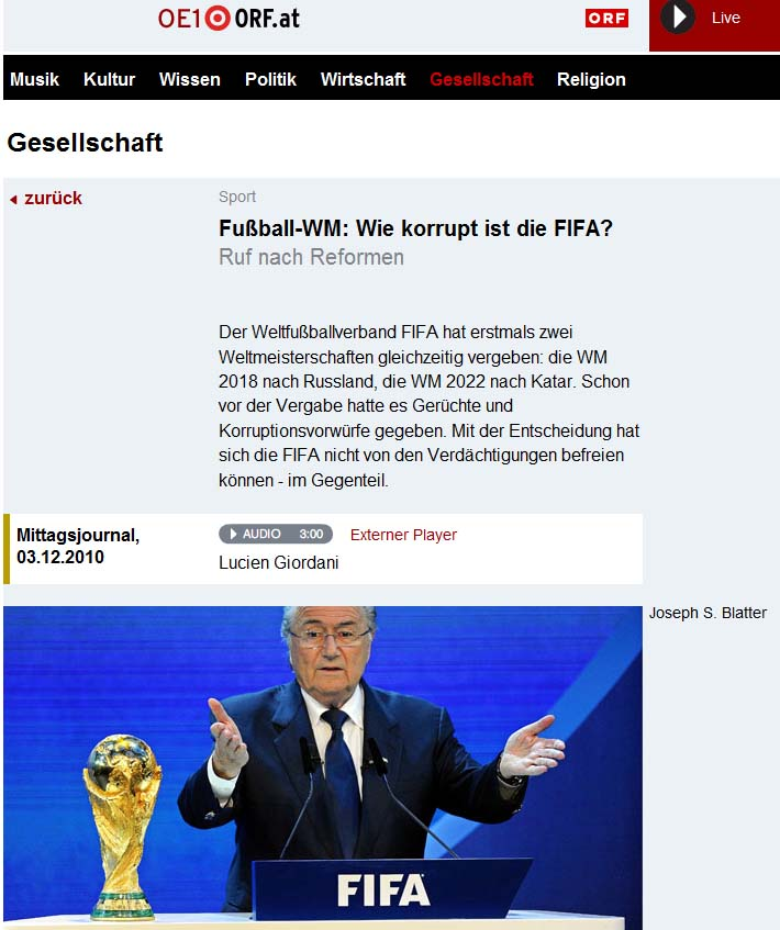 Fussball-WM: Wie korrupt ist die FIFA fragt ORF.
