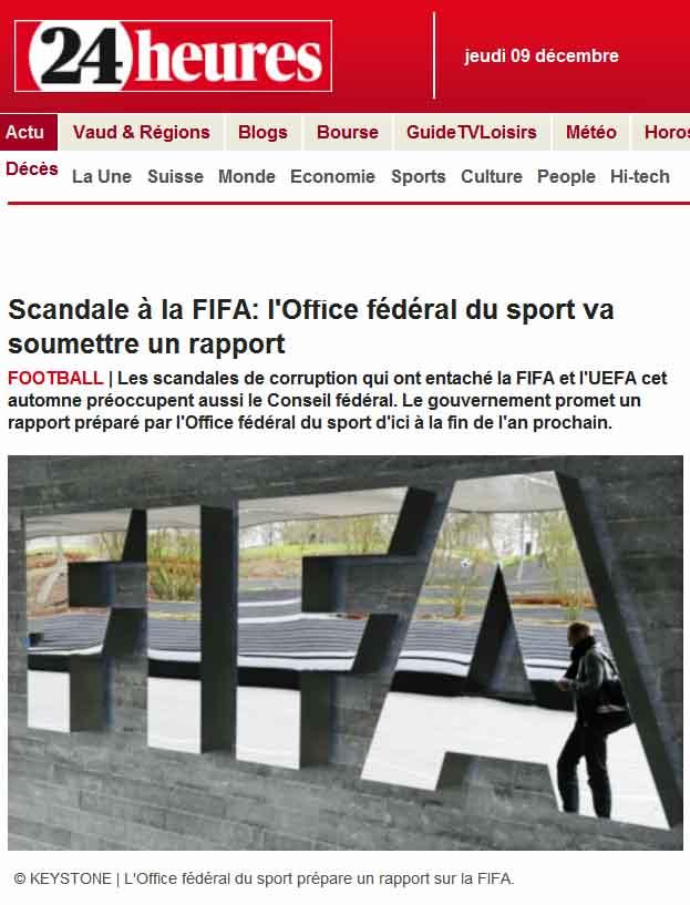 Scandale à la FIFA (24heures.ch)