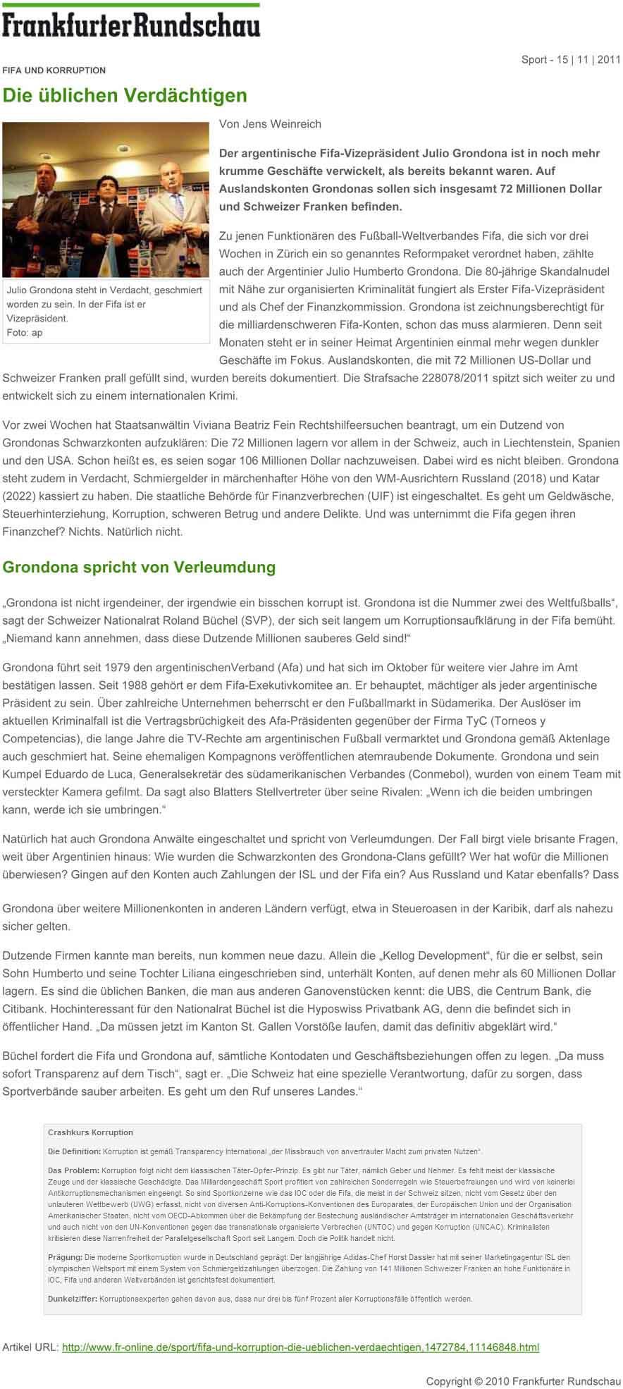 Frankfurter Rundschau: Die üblichen Verdächtigen. Julio Grondona. (Nationalrat: Roland Rino Büchel)