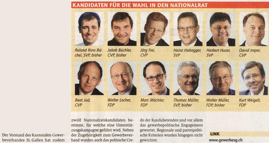 Gewerbeverband: Nationalrats Kandidaten Empfehlung