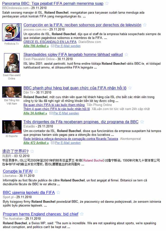 Fifa Korruption: Roland Rino Büchel in Google News