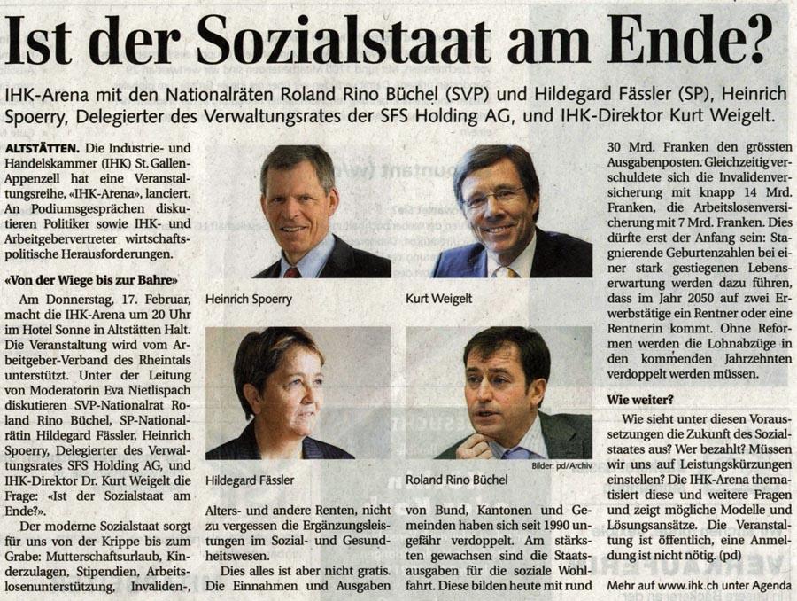 Ist der Sozialstaat am Ende? Roland Rino Büchel in der IHK-Arena.