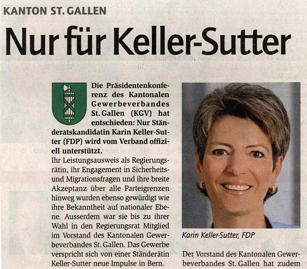 Karihn Keller Sutter : Kantonaler Gewerbeverband