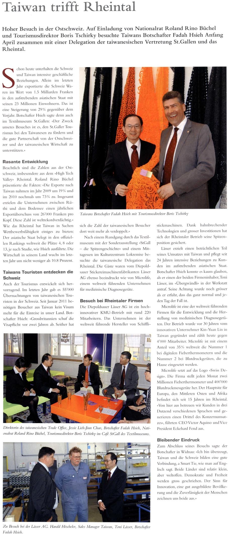 LEADER: Taiwans Botschafter zu Besuch in St. Gallen und im Rheintal