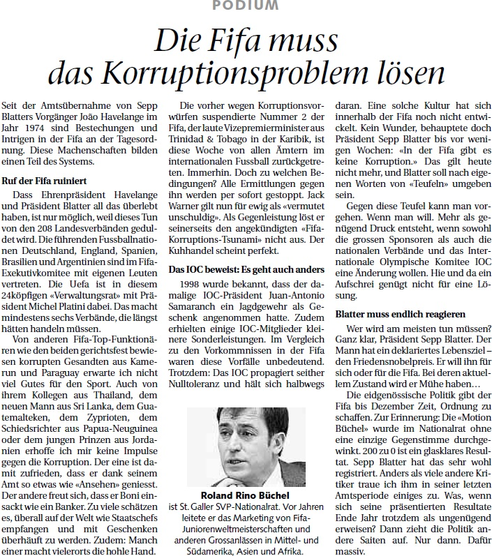 St. Galler Tagblatt: Die FIFA muss das Korruptionsproblem lösen