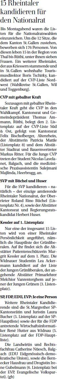 Der Rheintaler: 15 Rheintaler kandidieren für den Nationalrat