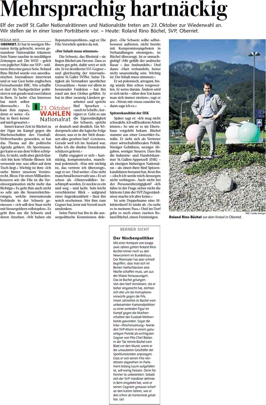 St. Galler Tagblatt: Mehrsprachig hartnäckig